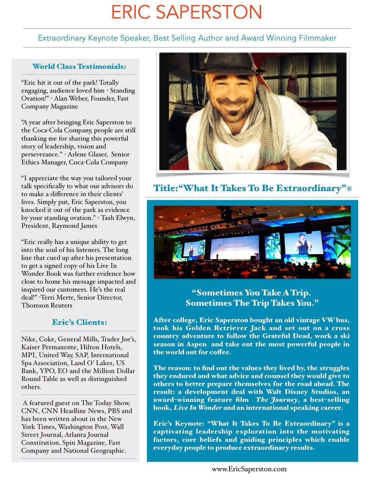 Eric Saperston Keynote One Sheet